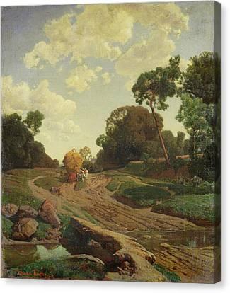 Landscape With Haywagon Canvas Print