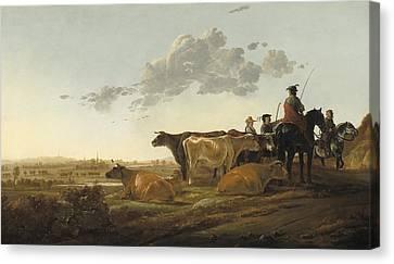 Landscape With Herdsmen Canvas Print