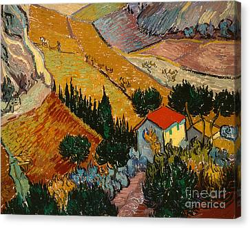 Landscape With House And Ploughman Canvas Print by Vincent Van Gogh