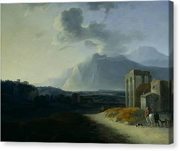 Landscape With Mount Stromboli Canvas Print by Willem Schellinks