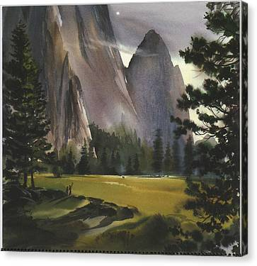 Landscape With Mountains And Evergreen Canvas Print by Gillham Studios