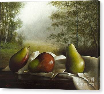 Landscape With Pears Canvas Print by Larry Preston