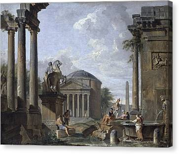 Landscape With Roman Ruins Canvas Print by Giovanni Paolo Panini