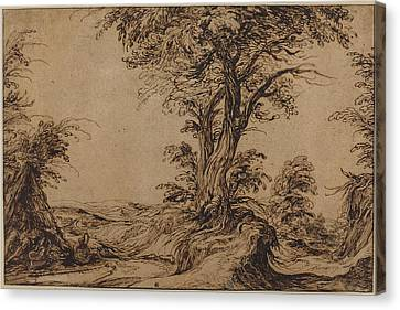 Landscape With Sleeping Peasants Canvas Print