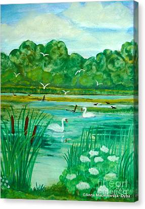 Landscape With Swans Canvas Print by Anna Folkartanna Maciejewska-Dyba