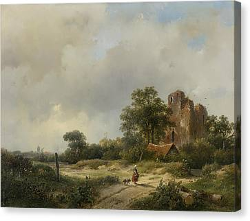 Landscape With The Ruins Of Castle Brederode In Santpoort Canvas Print by Andreas Schelfhout