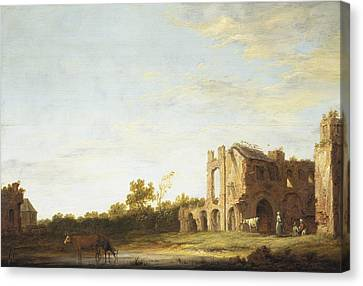 Landscape With The Ruins Of Rijnsburg Abbey Canvas Print by Aelbert Cuyp