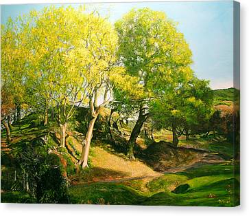 Canvas Print featuring the painting Landscape With Trees In Wales by Harry Robertson