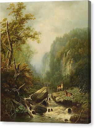 Landscape With Two Deer Canvas Print by Johann Gottfried