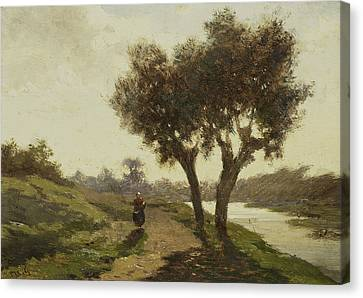 Dutch Landscapes Canvas Print - Landscape With Two Trees by Paul Gabriel