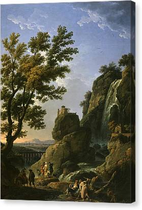 Landscape With Figure Canvas Print - Landscape With Waterfall And Figures by Claude-Joseph Vernet