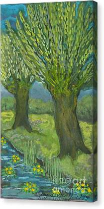 Landscape With Willows And Cowslips In Bloom Canvas Print by Anna Folkartanna Maciejewska-Dyba
