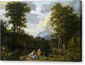 Landschaft Mit Arkadischer Staffage Canvas Print by Johannes Glauber