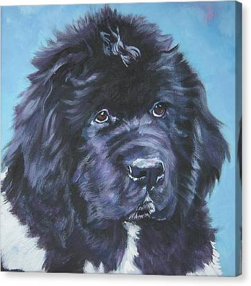 Landseer Newfoundland Puppy Canvas Print by Lee Ann Shepard