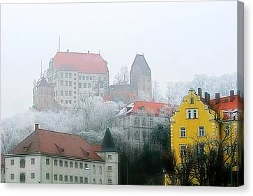 Landshut Bavaria On A Foggy Day Canvas Print by Christine Till