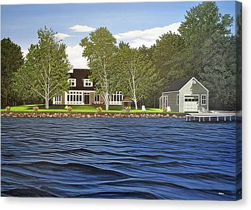 Canvas Print featuring the painting Langer Summer Home Lake Simcoe by Kenneth M Kirsch