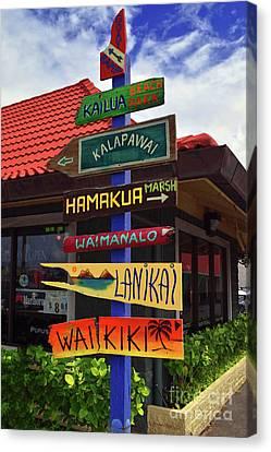 Lanikai Kailua Waikiki Beach Signs Canvas Print by Aloha Art