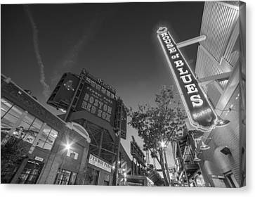 Lansdowne Street Fenway Park House Of Blues Boston Ma Black And White Canvas Print by Toby McGuire