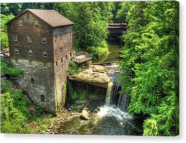 Lanterman's Mill And Covered Bridge - Youngstown Ohio Canvas Print by Gregory Ballos