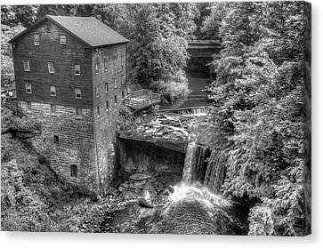 Lanterman's Mill Black And White - Youngstown Ohio Canvas Print by Gregory Ballos