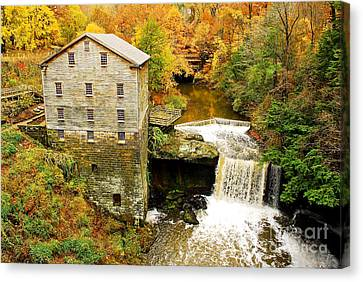 Grist Mill Canvas Print - Lantermans Mill In Fall by Tony  Bazidlo