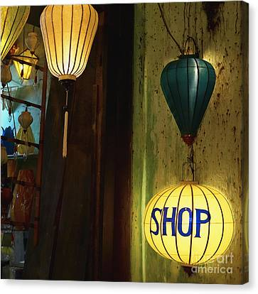 Lanterns At A Gift Shop Entrance Canvas Print by Skip Nall