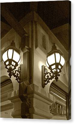 Canvas Print featuring the photograph Lanterns - Night In The City - In Sepia by Ben and Raisa Gertsberg