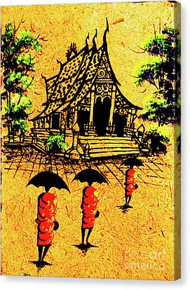 Procession To Temple, Lao Collection Canvas Print by Jeffery Waz