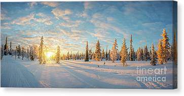 Canvas Print featuring the photograph Lapland Panorama by Delphimages Photo Creations