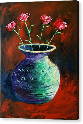 Canvas Print featuring the painting Large Abstract Roses In Vase Painting by Mark Webster