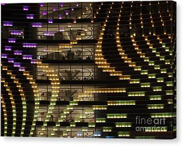 Large Building By Night Canvas Print by Yali Shi