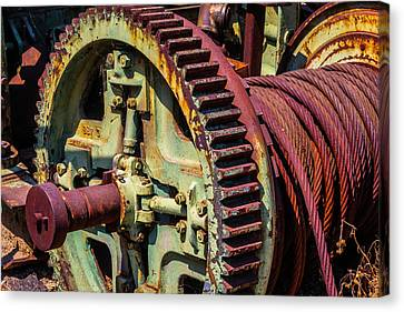 Large Gear And Cable Canvas Print by Garry Gay