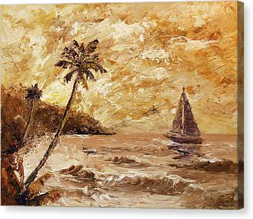 Daily Painter Canvas Print - Large Sailboat On The Hawaiian Coast Oil Painting  by Mark Webster
