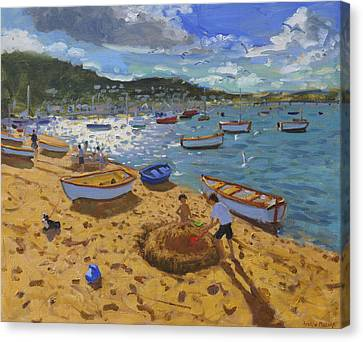 Large Sandcastle Teignmouth Canvas Print by Andrew Macara