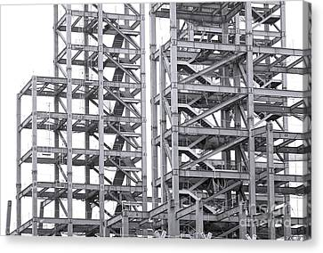 Canvas Print featuring the photograph Large Scale Construction Project With Steel Girders by Yali Shi