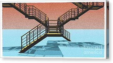 Large Stair 38 On Cyan And Strange Red Background Abstract Arhitecture Canvas Print by Pablo Franchi