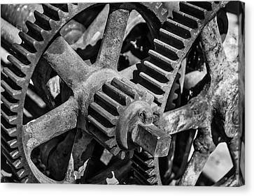 Large Trainyard Gears Canvas Print by Garry Gay