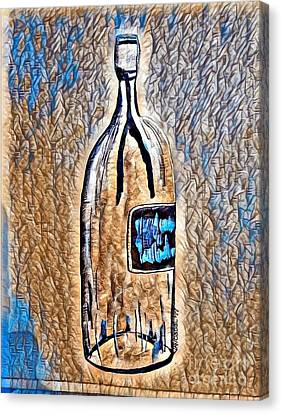 Large Wine Bottle - Abstract Crackle Canvas Print