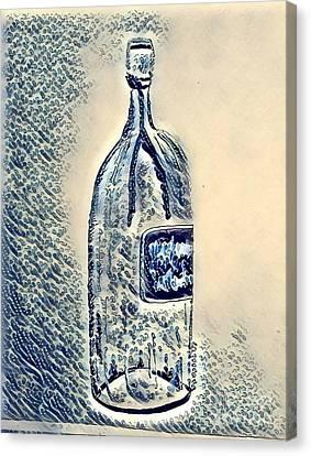 Large Wine Bottle - Bubbles Canvas Print