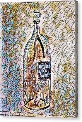 Large Wine Bottle - Stained Glass Canvas Print