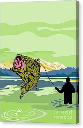 Largemouth Bass Fish Jumping Canvas Print by Aloysius Patrimonio