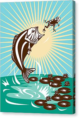 Largemouth Bass Jumping Catching Frog  Canvas Print by Aloysius Patrimonio