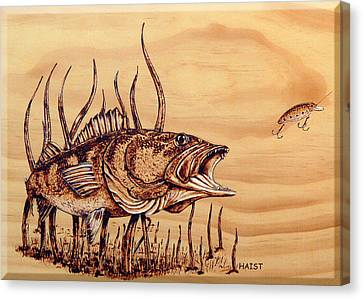Canvas Print featuring the pyrography Largemouth Bass by Ron Haist