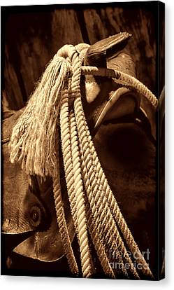 Lariat On A Saddle Canvas Print by American West Legend By Olivier Le Queinec