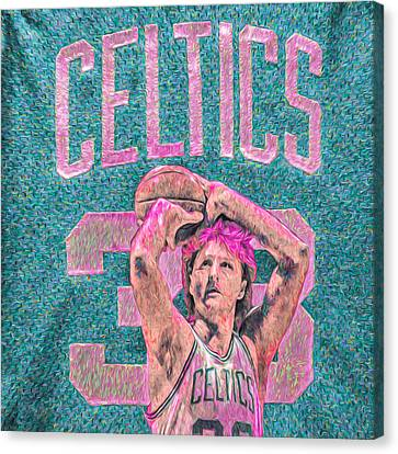 Larry Bird Boston Celtics Digital Painting Pink Canvas Print by David Haskett