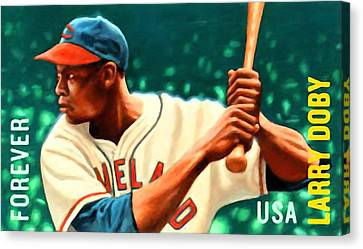 Larry Doby Canvas Print by Lanjee Chee