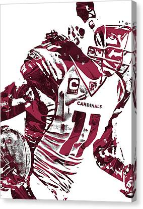 Canvas Print featuring the mixed media Larry Fitzgerald Arizona Cardinals Pixel Art 1 by Joe Hamilton