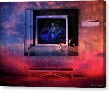 L'artiste Et La Banquette Canvas Print by Karo Evans