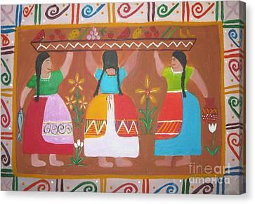 Canoe Canvas Print - Las Comadres by Sonia Flores Ruiz