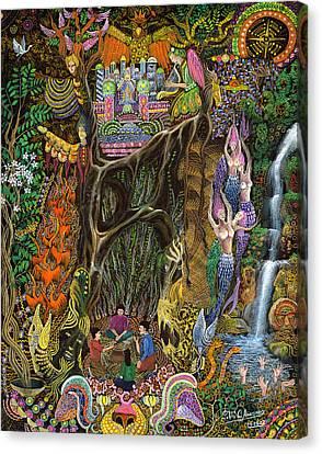 Ayahuasca Visions Canvas Print - Las Nalpeas Del Renaco  by Pablo Amaringo